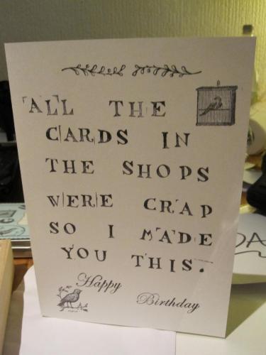 Crap birthday card
